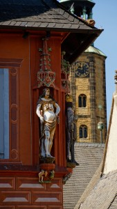 One of the sculptures that adorn Goslar's houses